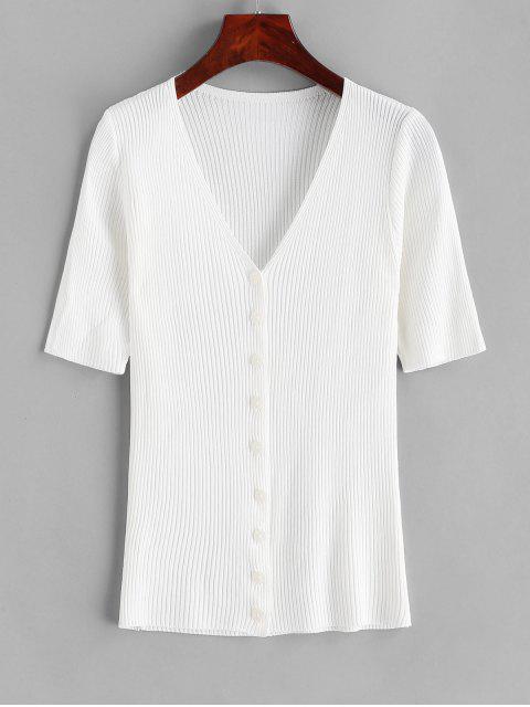 Camiseta Tejido Cuello en V Abotonada - Blanco Talla única Mobile