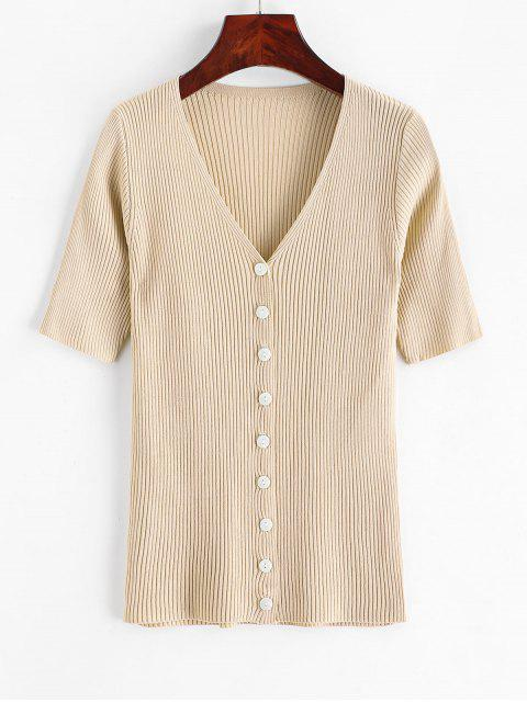 chic Knitted Button Up V Neck Tee - LIGHT KHAKI ONE SIZE Mobile