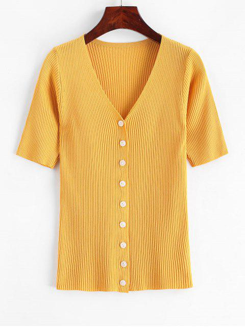 women Knitted Button Up V Neck Tee - YELLOW ONE SIZE Mobile