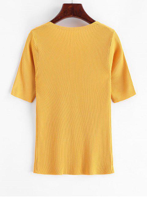 Camiseta Tejido Cuello en V Abotonada - Amarillo Talla única Mobile