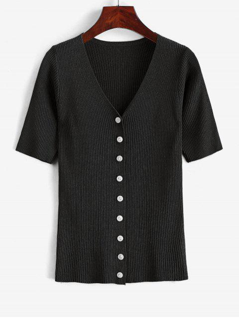 chic Knitted Button Up V Neck Tee - BLACK ONE SIZE Mobile