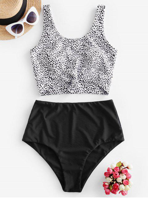 chic ZAFUL Animal Print Knotted High Waisted Tankini Swimsuit - MULTI-D L Mobile