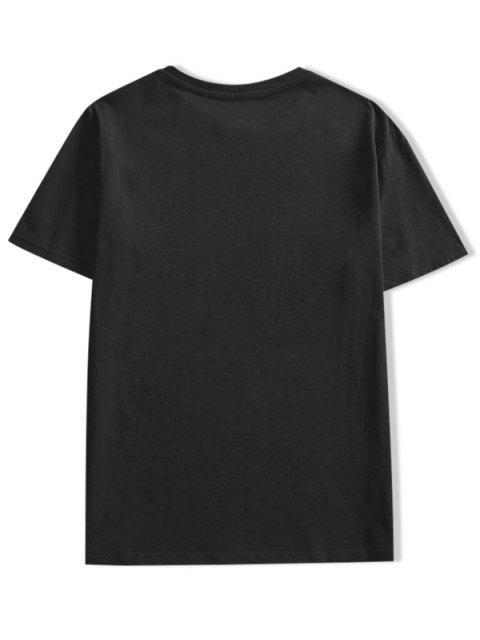 best Fire Cartoon Dinosaur Letter Print T-shirt - BLACK XL Mobile