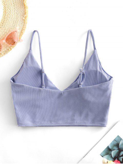 sale ZAFUL Ribbed Cropped Bikini Top - LAVENDER BLUE S Mobile