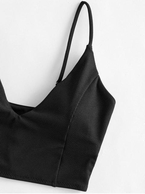ZAFUL Geripptes Kurzes Bikini-Top - Schwarz M Mobile