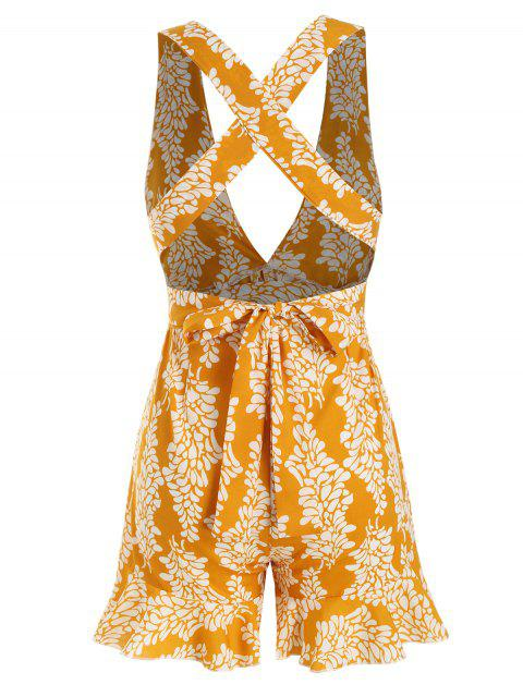 online Tie Waist Printed Criss Cross Romper - YELLOW L Mobile
