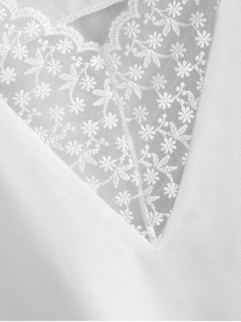Top Cami de Chiffon Floral com Painél de Renda - Branco L Mobile