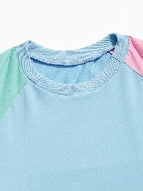 Farbblock Panel Raglanärmel Sweatshirt - Dunkles Himmelblau 2XL Mobile