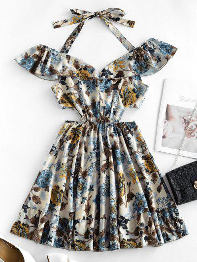 Ruffle Waist Cutout Floral Dress - Multi-a S