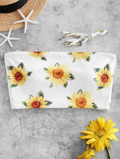 ZAFUL Sunflower Ribbed Bandeau Bikini Top - White M
