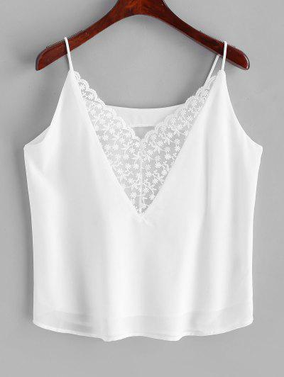 Floral Embroidered Mesh Panel Chiffon Cami Top - White L