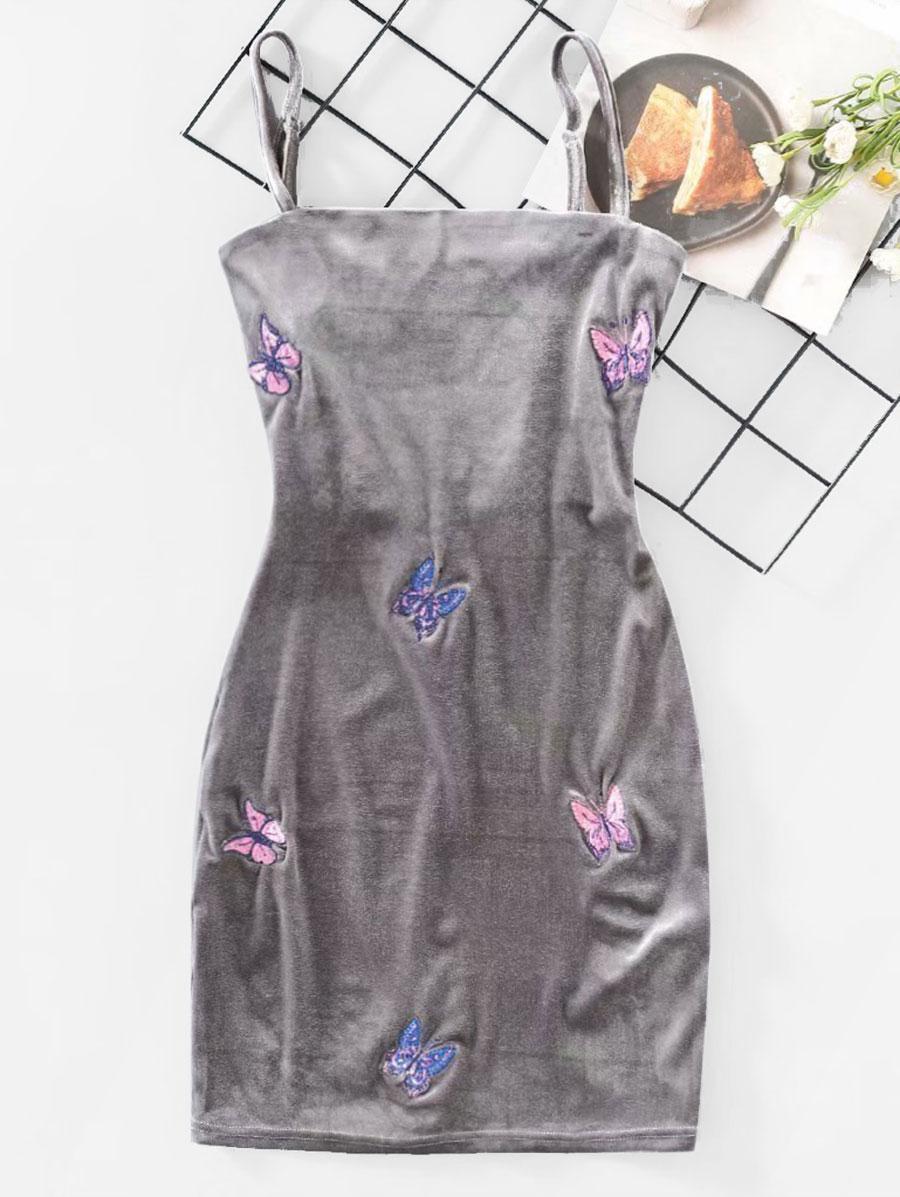 Velvet Butterfly Embroidered Bodycon Dress