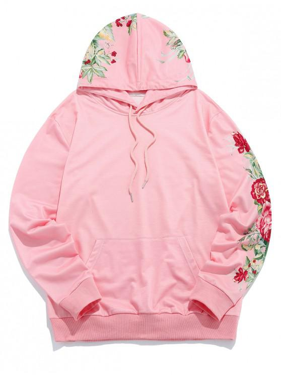 trendy ZAFUL Floral Leaf Printed Casual Pocket Hoodie - SAKURA PINK L