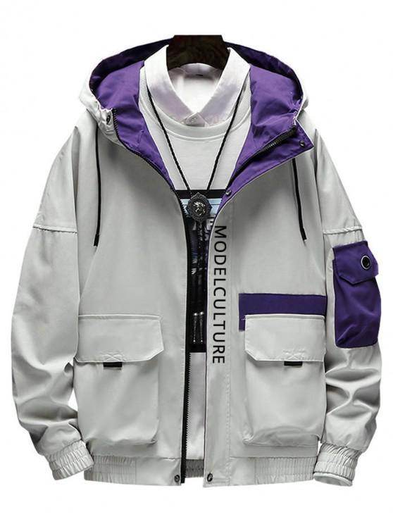 Принт буквы Карман для украшения Куртка - Светло-серый L