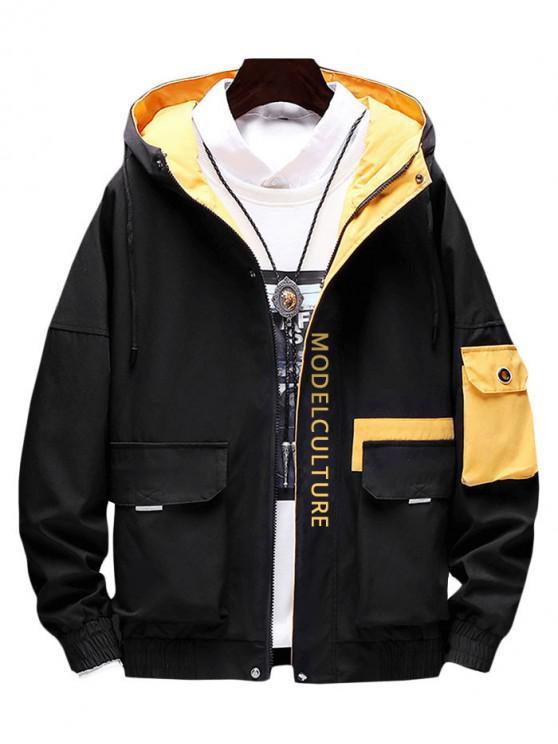Принт буквы Карман для украшения Куртка - Чёрный XL