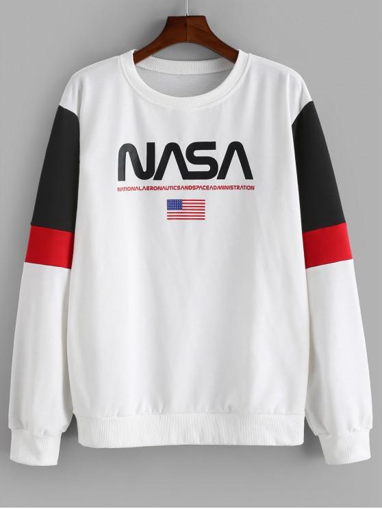 womens Colorblock Letter American Flag Print Sweatshirt - WHITE S