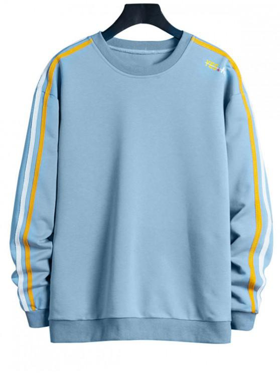 trendy Contrast Striped Letter Print Crew Neck Sweatshirt - LIGHT SKY BLUE XL