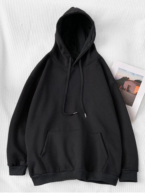 buy Casual Solid Color Pouch Pocket Hoodie - BLACK XL