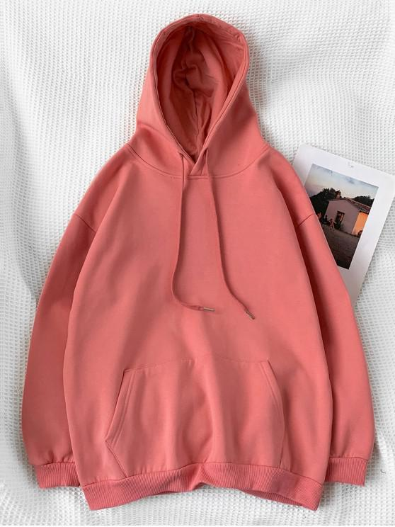 chic Casual Solid Color Pouch Pocket Hoodie - LIGHT CORAL M