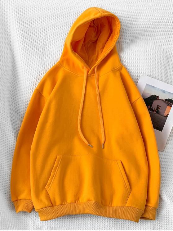 outfits Casual Solid Color Pouch Pocket Hoodie - SAFFRON L