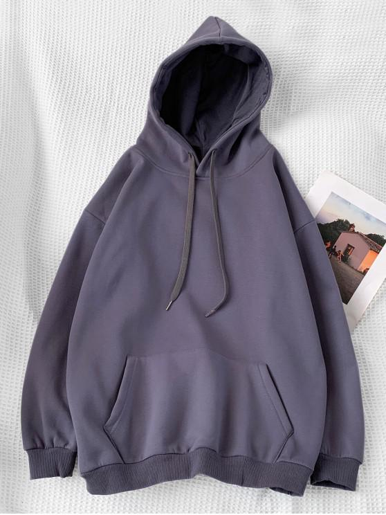 trendy Casual Solid Color Pouch Pocket Hoodie - DARK GRAY L