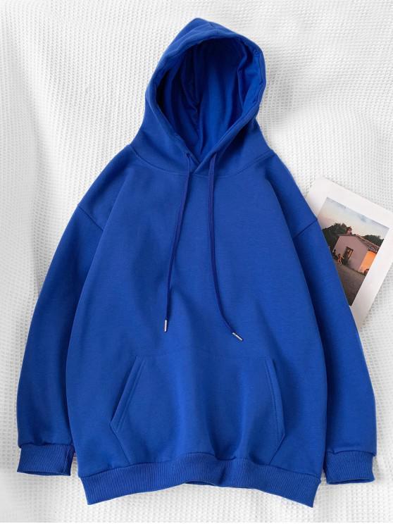 Casual solido di colore Pouch Pocket con cappuccio - Blu L