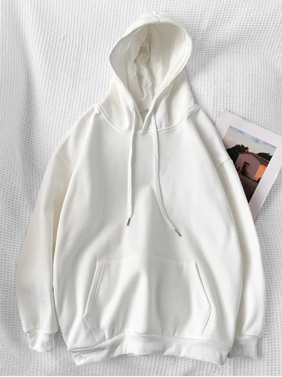 buy Casual Solid Color Pouch Pocket Hoodie - WHITE 2XL