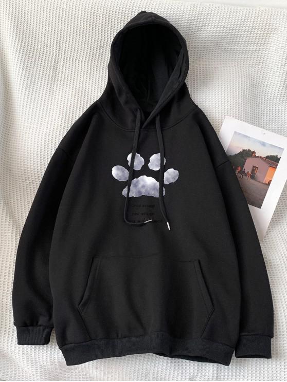 shop Letter Footprint Pattern Pocket Hoodie - BLACK M