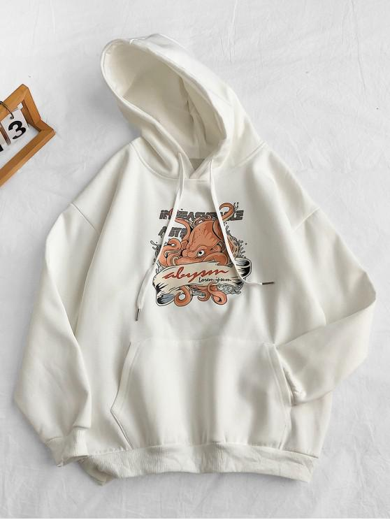 hot Cartoon Letter Print Pocket Hoodie - WHITE 3XL