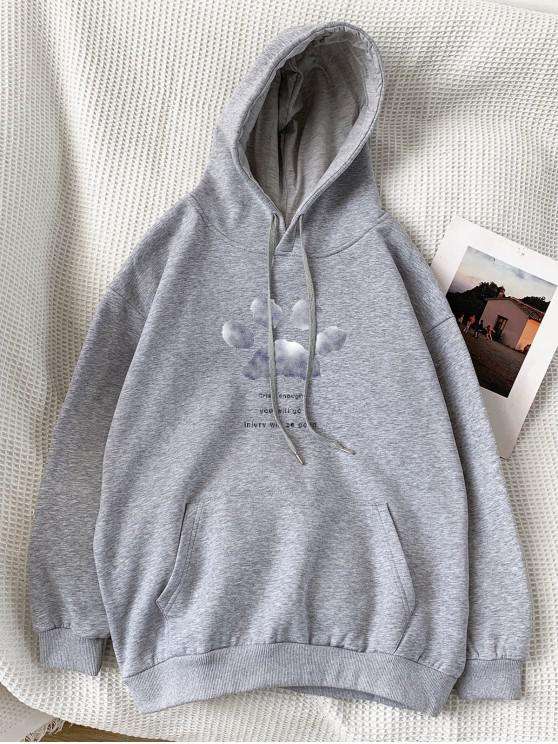 outfit Letter Footprint Pattern Pocket Hoodie - LIGHT GRAY 2XL