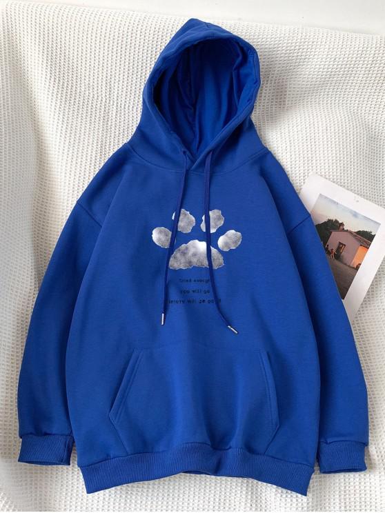 lady Letter Footprint Pattern Pocket Hoodie - BLUE 2XL