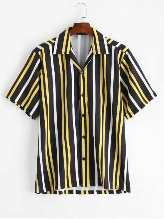 ladies Button Up Stripes Casual Short Sleeve Shirt - BLACK XL