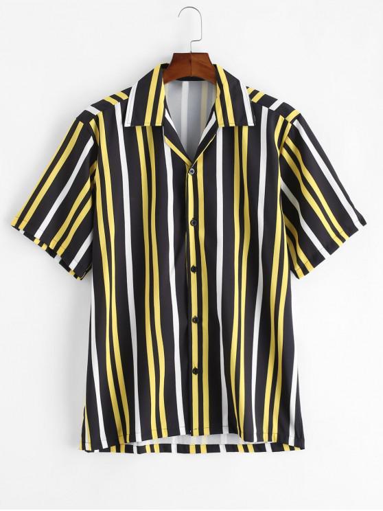 latest Button Up Stripes Casual Short Sleeve Shirt - BLACK 2XL
