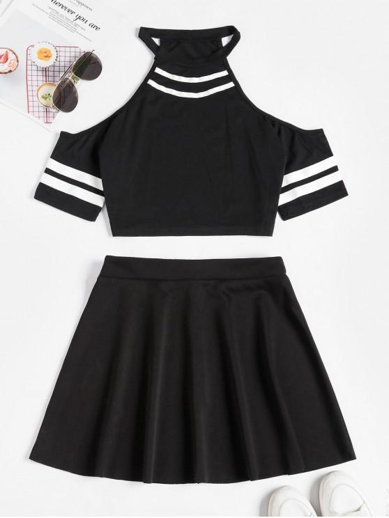 shop Striped Cold Shoulder Mini Skirt Set - BLACK L