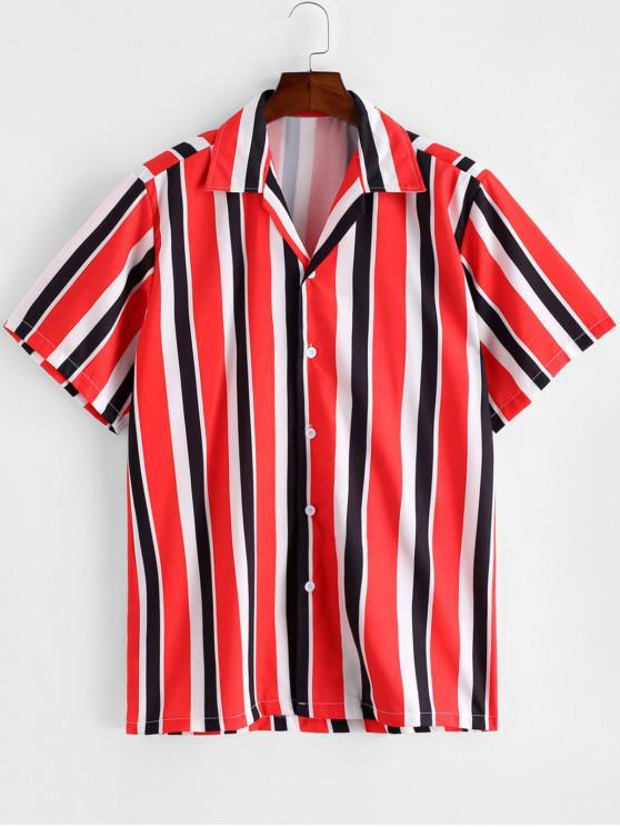 Camisa a Rayas de Bloqueo de Color - Rojo XL