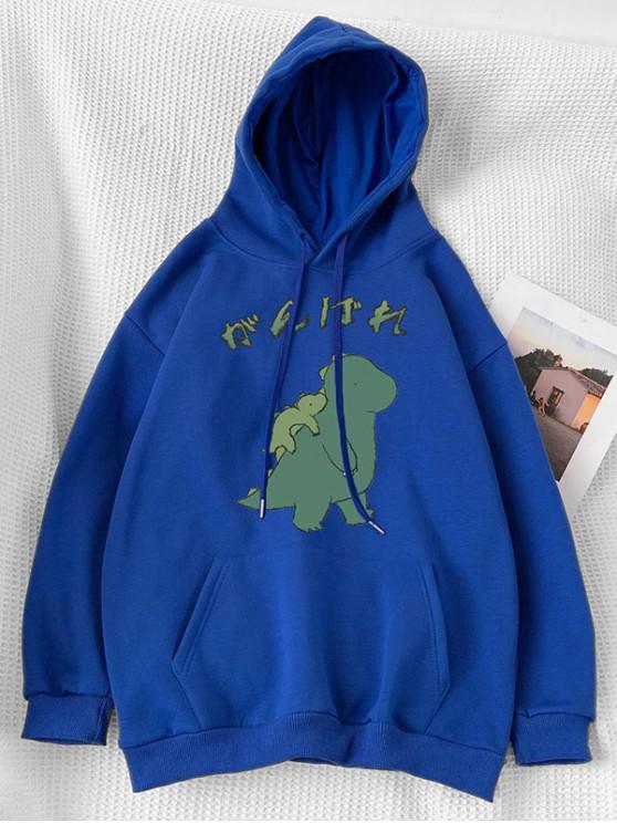 sale Cartoon Dinosaur Printed Pocket Hoodie - BLUE M