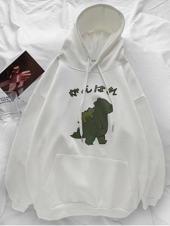 best Cartoon Dinosaur Printed Pocket Hoodie - WHITE 3XL
