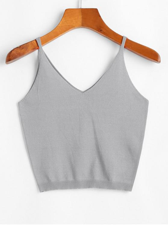 fashion V Neck Solid Knitted Tank Top - GRAY ONE SIZE