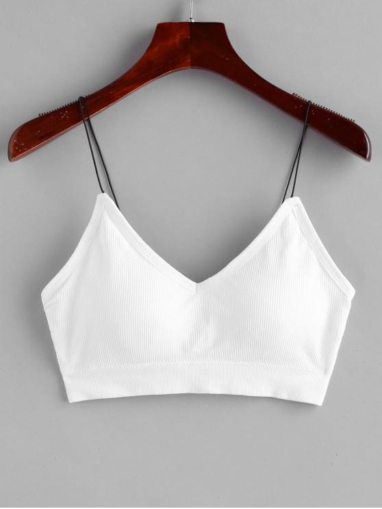 fancy Padded Bungee Ribbed Bralette Top - WHITE ONE SIZE