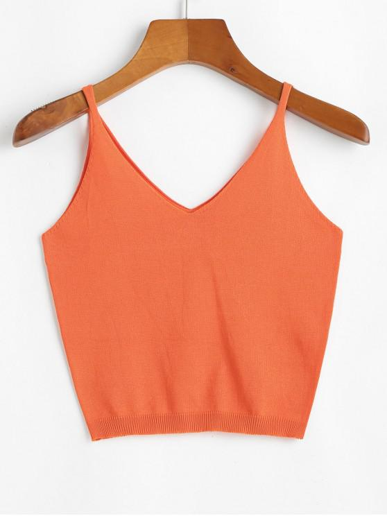 buy V Neck Solid Knitted Tank Top - ORANGE ONE SIZE