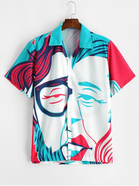 Camisa de Manga Corta con Estampado Gráfico Divertido - Multicolor-A 2XL