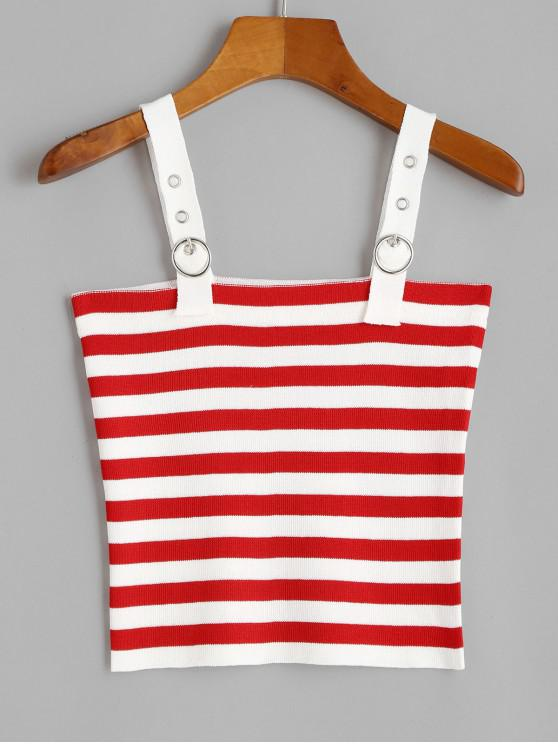 shops Knitted Buckle Straps Contrast Stripes Tank Top - RED ONE SIZE