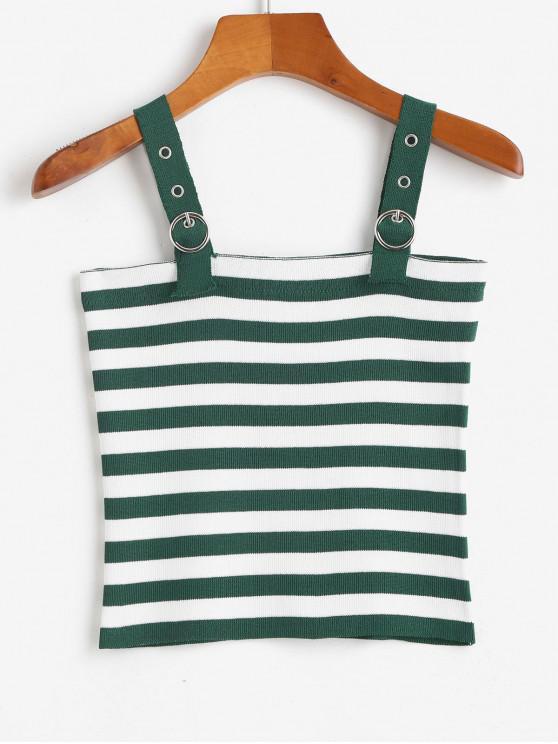 Maglia delle cinghie contrasto Stripes Canotta - Verde intenso Taglia unica