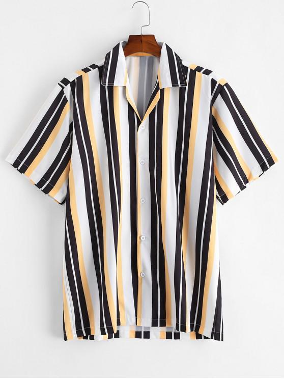 Camisa a Rayas de Bloqueo de Color - Negro M