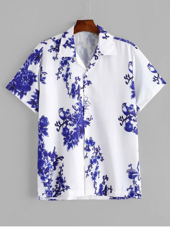 Camisa de Botón de Impresión de Flores - Blanco L