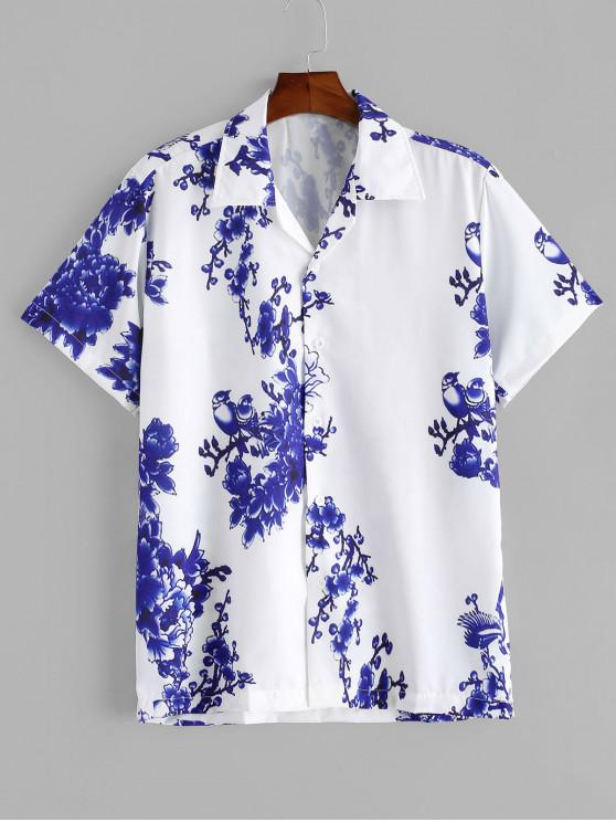 hot Flower Print Button Vacation Shirt - WHITE XL