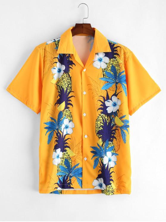 الأناناس زهرة طباعة زر قميص عطلة - المطاط الحبيب الأصفر S