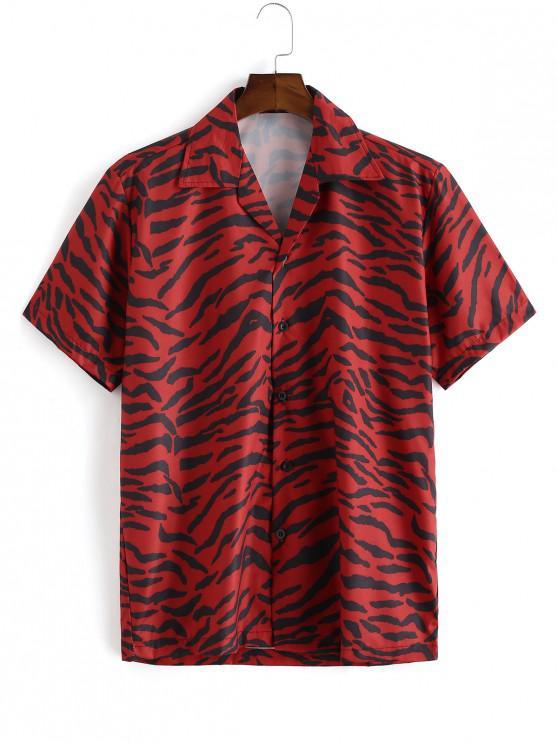 fancy Zebra Print Short Sleeve Button Shirt - LAVA RED L