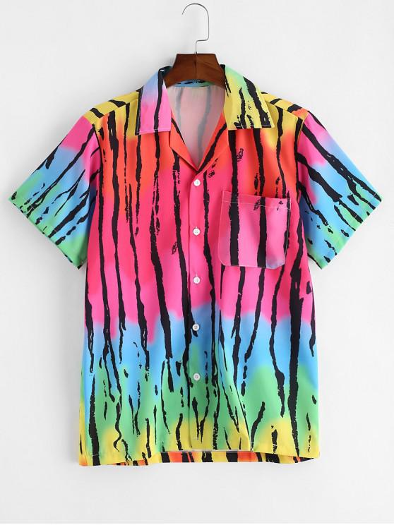 shop Ombre Striped Print Chest Pocket Button Shirt - MULTI-A 2XL