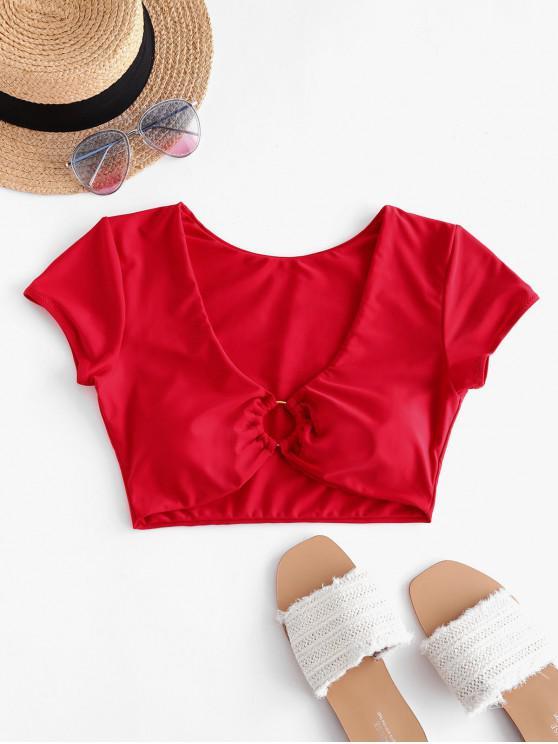 fancy ZAFUL O Ring Plunging Crop Swim Top - LAVA RED XL